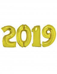 Pack van goudkleurige aluminium 2019 ballonnen