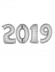 Pack van zilverkleurige aluminium 2019 ballonnen