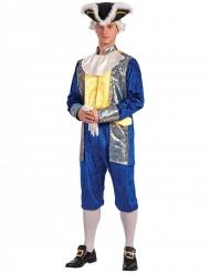 Blauw en goudkleurig markies kostuum voor volwassenen