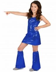 Donkerblauw lovertjes disco kostuum voor meisjes