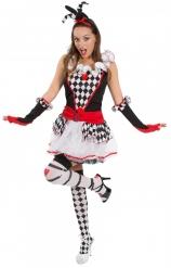 Schaakbord harlekijn outfit voor dames