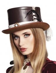 Luxe bruine Steampunk hoed met kant voor vrouwen