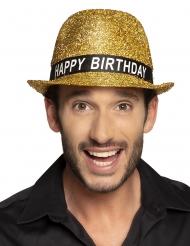 Goudkleurige glitter happy birthday hoed voor volwassenen