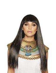 Lange zwarte en goudkleurige Nijlkoningin pruik voor vrouwen