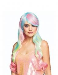 Lange pastelkleurige regenboog pruik voor vrouwen