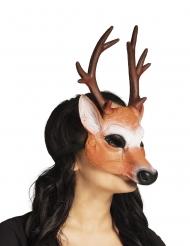 Hert half masker met gewei voor volwassenen