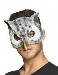 Wit en grijs uil half masker voor volwassenen