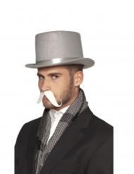 Witte zelfklevende snor voor volwassenen