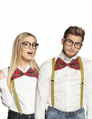 Nerd bril en strikje set voor volwassenen