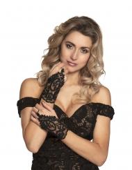 Elegante zwarte kant handschoenen voor vrouwen