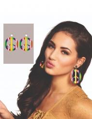 Gekleurde gestreepte hippie oorbellen voor volwassenen