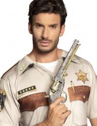 Zilverkleurige sheriff revolver