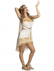 Sexy wit en goudkleurig godinnenkostuum voor vrouwen