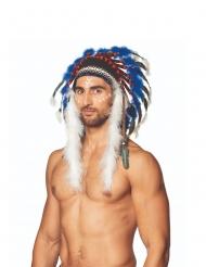 Driekleurige indiaan hoofdtooi voor volwassenen