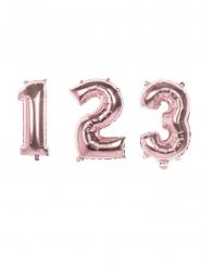 Metallic roze aluminium cijfer ballon