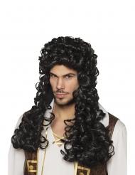 Lange zwarte gekrulde piraten kapitein pruik voor volwassenen