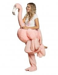 Op de rug van een roze flamingo kostuum voor volwassenen