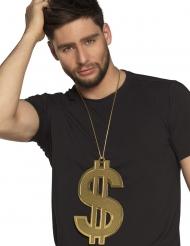 Goudkleurige XL dollar ketting voor volwassenen