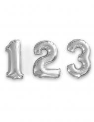 Zilverkleurige aluminium cijfer ballon