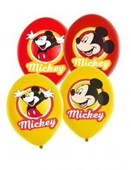 6 gele en rode latex Mickey Mouse™ ballonnen