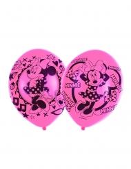 6 latex roze gekleurde Minnie Mouse™ ballonnen
