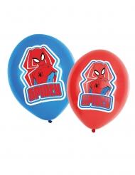 6 latex Spiderman™ ballonnen rood en blauw