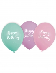 6 latex pastel happy birthday ballonnen