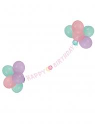 Pastelkleurige Happy Birthday slinger met ballonnen