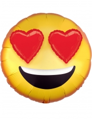 Aluminium emoticon ballon met hartjes ogen
