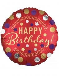 Satijnrode aluminium happy birthday ballon
