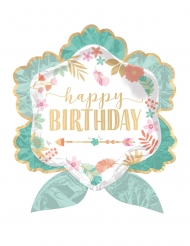 Groene Happy Birthday aluminium bloem ballon