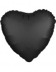 Satijnachtige zwarte aluminium hart ballon