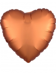 Satijnen koperkleurige aluminium hart ballon