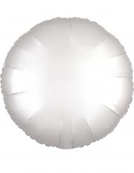 Ronde satijnachtige witte aluminium ballon