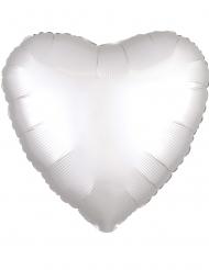 Witte satijnachtige aluminium hart ballon