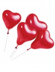 5 rode hart ballonnen met stokjes