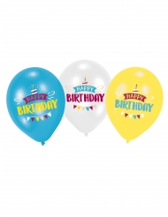6 driekleurige latex Happy Birthday ballonnen