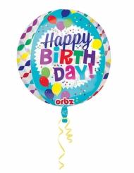 Doorzichtige blauwe Happy Birthday ballon
