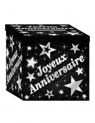 Kartonnen zwarte en zilverkleurige Joyeux Anniversaire doos