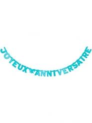 Blauwe Joyeux Anniversaire verjaardagsslinger