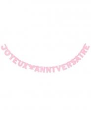 Roze Joyeux Anniversaire verjaardagsslinger