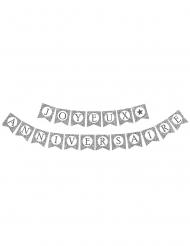 Zilverkleurige Joyeux Anniversaire glitter slinger