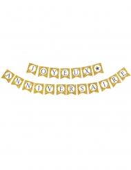 Goudkleurige glitter Joyeux Anniversaire slinger