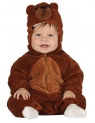 Bruine beer pak met capuchon voor baby