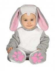 Grijs konijn kostuum met capuchon voor baby