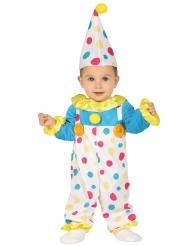 Pastelkleurig gestippeld clown kostuum voor baby