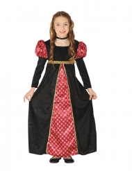 Zwarte en rode middeleeuwse dame outfit voor meisjes
