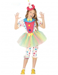 Pastelkleurig clown kostuum met stippen voor meisjes