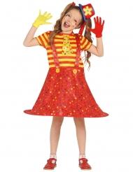 Grappig geel en rood clown kostuum voor meisjes