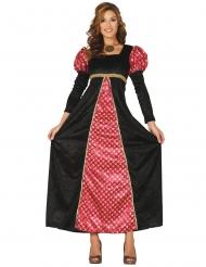 Rode en zwarte middeleeuwse dame outfit voor vrouwen